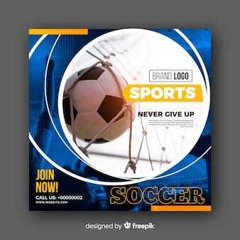 Banner de atleta de futebol com foto