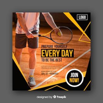 Banner de atleta de tênis com foto