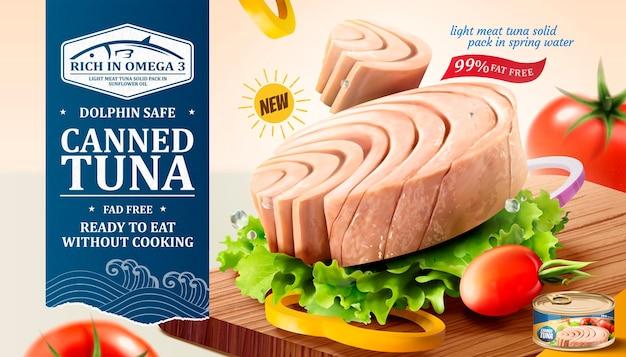 Banner de atum em lata com legumes frescos em uma tábua de cortar em estilo 3d