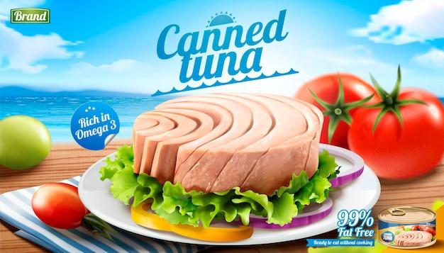 Banner de atum enlatado na praia de bokeh em estilo 3d
