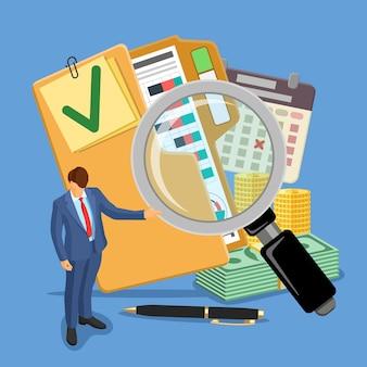 Banner de auditoria, impostos, contabilidade comercial. auditor, lupa e pasta com relatórios financeiros, calendário e dinheiro verificados. ícones de estilo simples. ilustração vetorial isolada