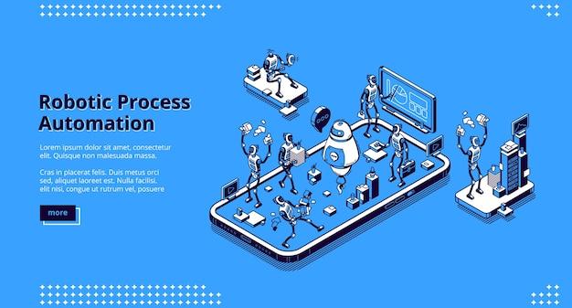 Banner de automação de processos robóticos. tecnologias de inovação de inteligência artificial no trabalho empresarial. página inicial com ilustração isométrica de robôs trabalhando no escritório