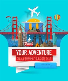 Banner de aventura, banner de viagem elegante com um conjunto de pontos de referência de locais de interesse.