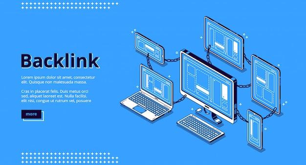 Banner de backlink. conceito de construção de sistema de hiperlink, cooperação de sites, otimização de seo