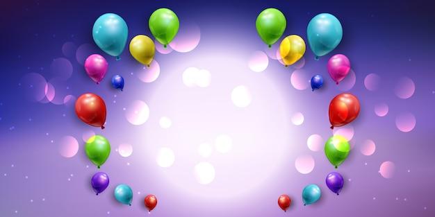 Banner de balão com luzes bokeh