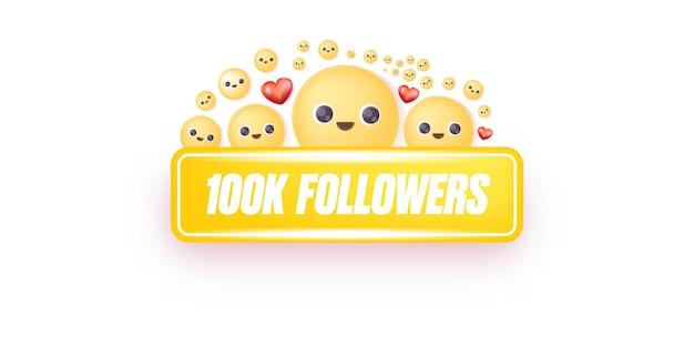 Banner de balão de fala de 100 mil seguidores pode ser usado para marketing e publicidade empresarial