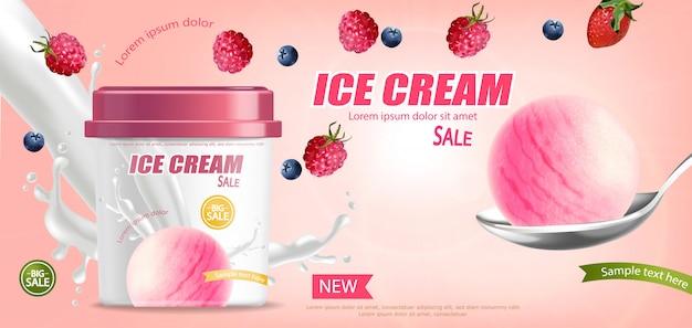 Banner de balde de sorvete