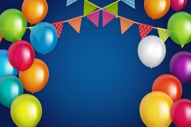 Banner de balões brilhante feliz aniversário cor