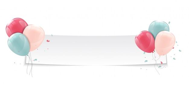 Banner de balões brilhantes de cor