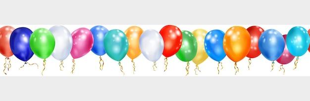 Banner de balões coloridos e fitas em branco