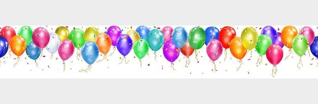 Banner de balões coloridos, fitas e pedaços brilhantes de serpentina em branco