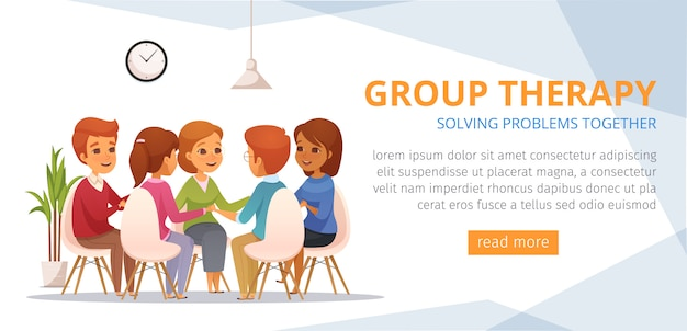 Banner de banda desenhada de terapia de grupo com a solução de problemas juntos título local para botão de texto e laranja