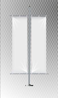Banner de bandeira de publicidade e ilustração de cartaz de lona de tecido