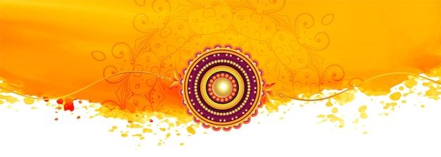 Banner de bandhan raksha amarelo abstrato