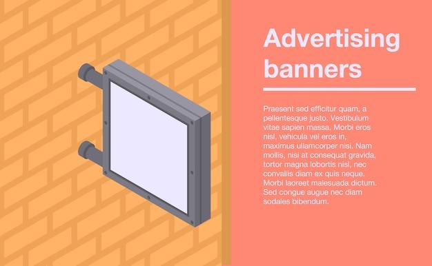 Banner de banners de parede de publicidade, estilo isométrico