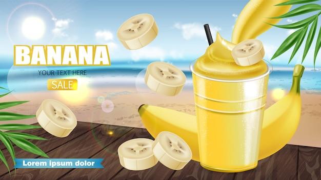Banner de batido de banana trópico