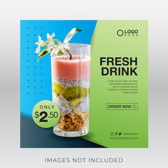 Banner de bebida de suco fresco saudável para mídias sociais postar modelo