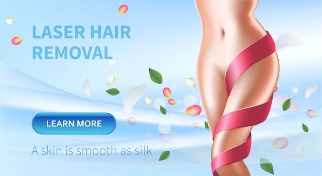 Banner de beleza de depilação a laser com corpo feminino