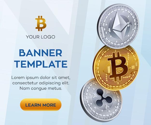 Banner de bitcoin dourado e prateado