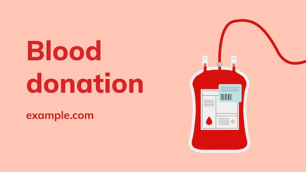 Banner de blog de vetor de modelo de campanha de doação de sangue em estilo minimalista
