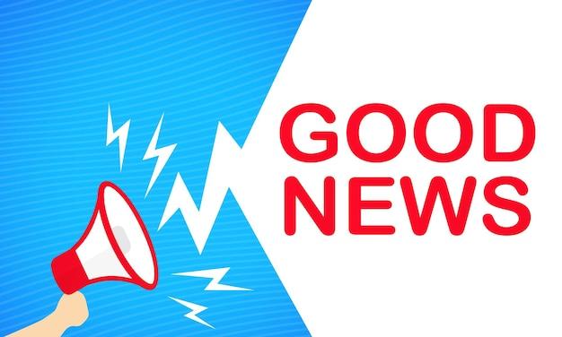 Banner de boas notícias. mão segurando o megafone. propaganda. vetor em fundo branco isolado. eps 10