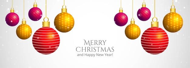 Banner de bolas decorativas de feliz natal