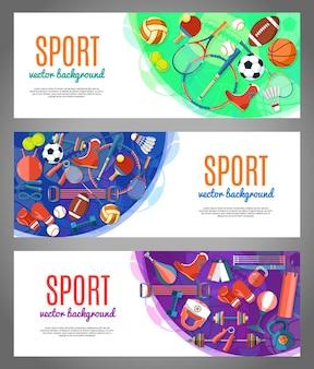 Banner de bolas esportivas e equipamentos de jogos.