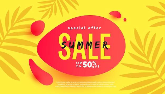 Banner de bolha de venda de verão com folhas de palmeira frescas para anúncios em cartaz de redes sociais