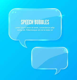Banner de bolhas de discurso brilhante abstrato em fundo azul