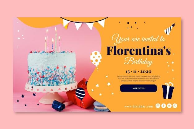 Banner de bolo delicioso feliz aniversário