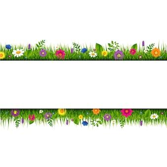 Banner de borda de grama e flores com malha gradiente, ilustração