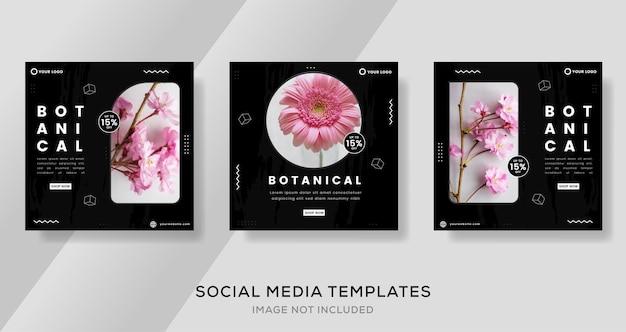 Banner de botânica para mídia social pós template premium