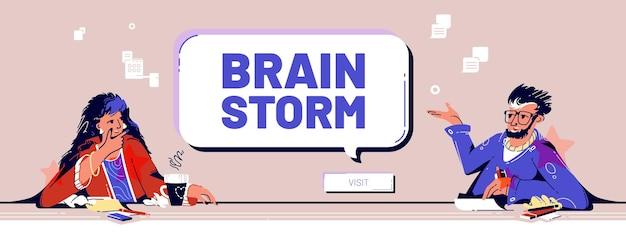Banner de brainstorming com reunião de equipe no escritório da empresa