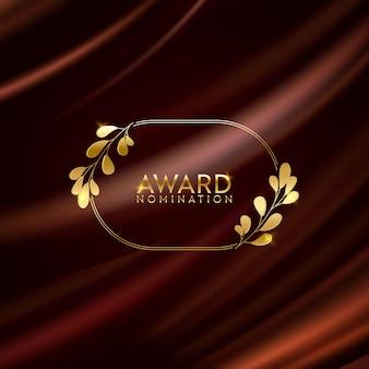 Banner de brilho da coroa de louros do vencedor dourado. plano de fundo do design de indicação ao prêmio. modelo de convite de luxo de cerimônia de vetor, textura realista de tecido abstrato de seda, indicado ao prêmio de negócios
