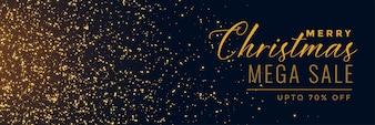 Banner de brilho dourado de venda de Natal