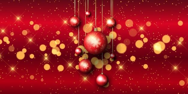 Banner de bugiganga de natal com luzes de bokeh