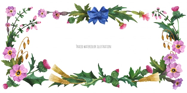 Banner de cabeça de plantas da escócia com arco-nó de seda azul