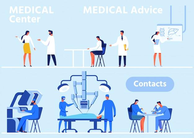 Banner de cabeçalho plano definido para centro médico moderno