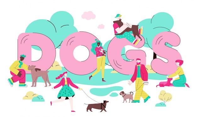 Banner de cães com donos de animais de desenho animado andando e abraçando seus animais de estimação no parque