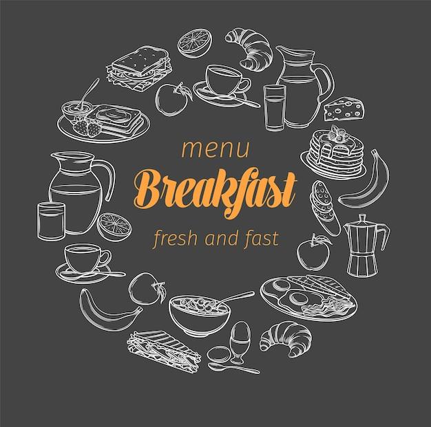 Banner de café da manhã e brunch, estilo quadro-negro. esboce o menu do brunch com manteiga, creme de leite e creme chantilly.