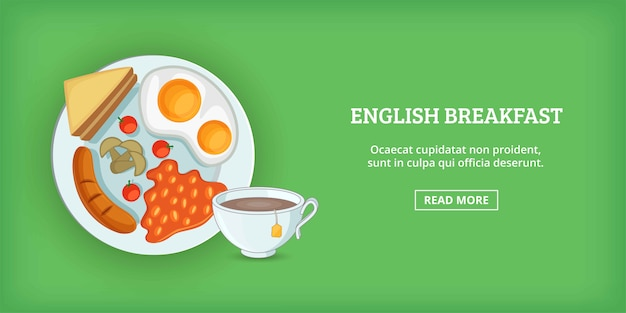Banner de café da manhã inglês horizontal, estilo cartoon