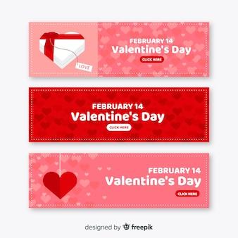 Banner de caixa e ornamento dos namorados
