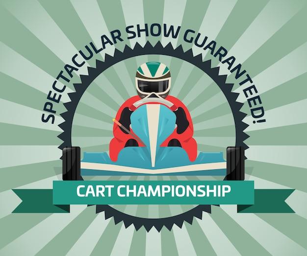 Banner de campeonato de carrinho em design plano
