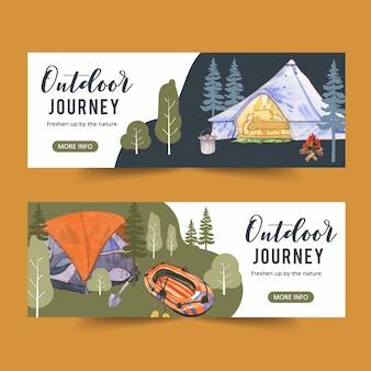 Banner de campismo com ilustrações de árvore, barraca e fogueira
