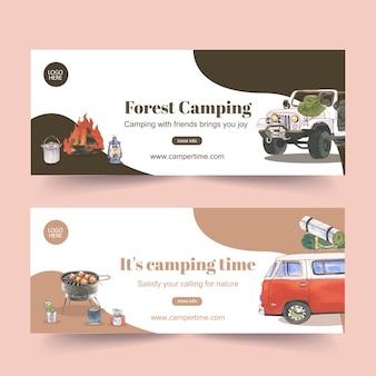 Banner de campismo com ilustrações de carro, lanterna e fogueira