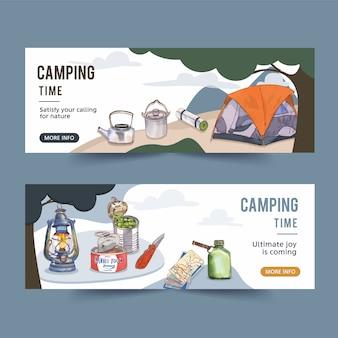 Banner de campismo com ilustrações de ferramentas de campista