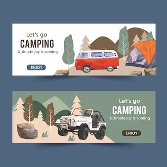 Banner de campismo com ilustrações de van, carro e tenda