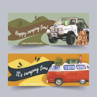 Banner de campismo com ilustrações.