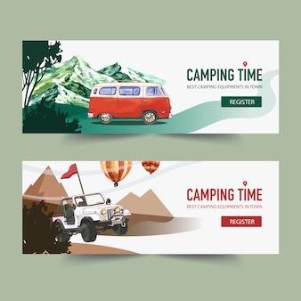 Banner de campismo com van, montanha e árvore