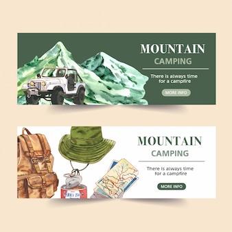 Banner de campismo com van, montanha, mochila e ilustrações de mapa